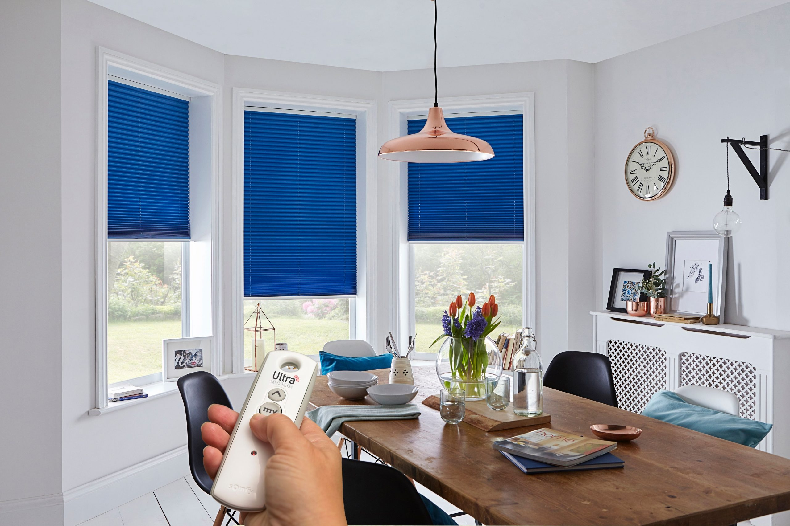 blue remote control blinds