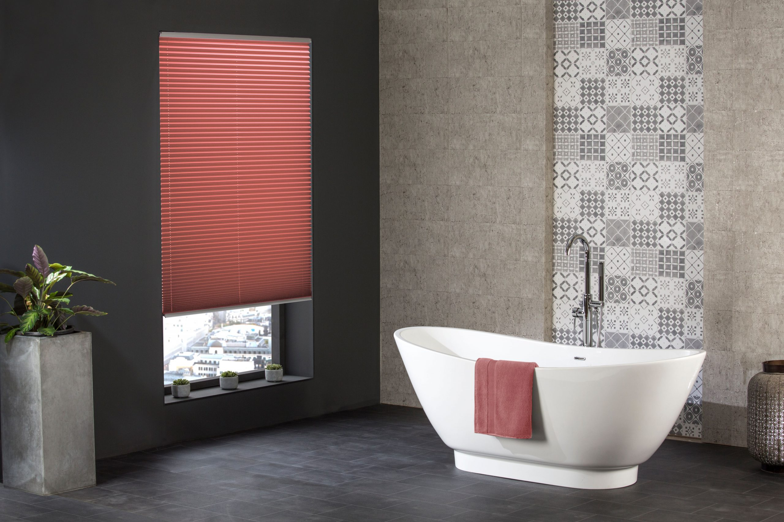Bespoke red window blinds