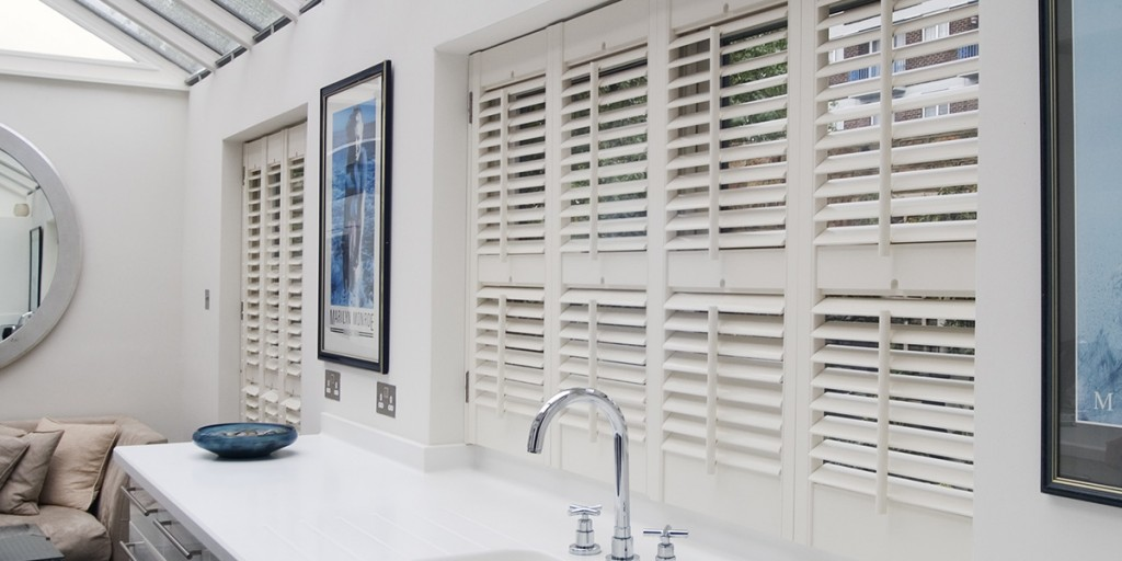Wooden bathroom shutters