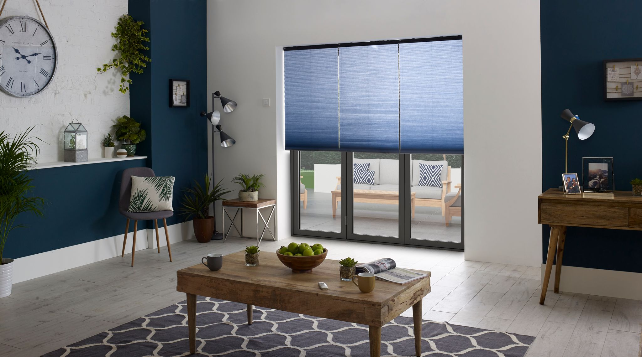 honeycomb blinds blue