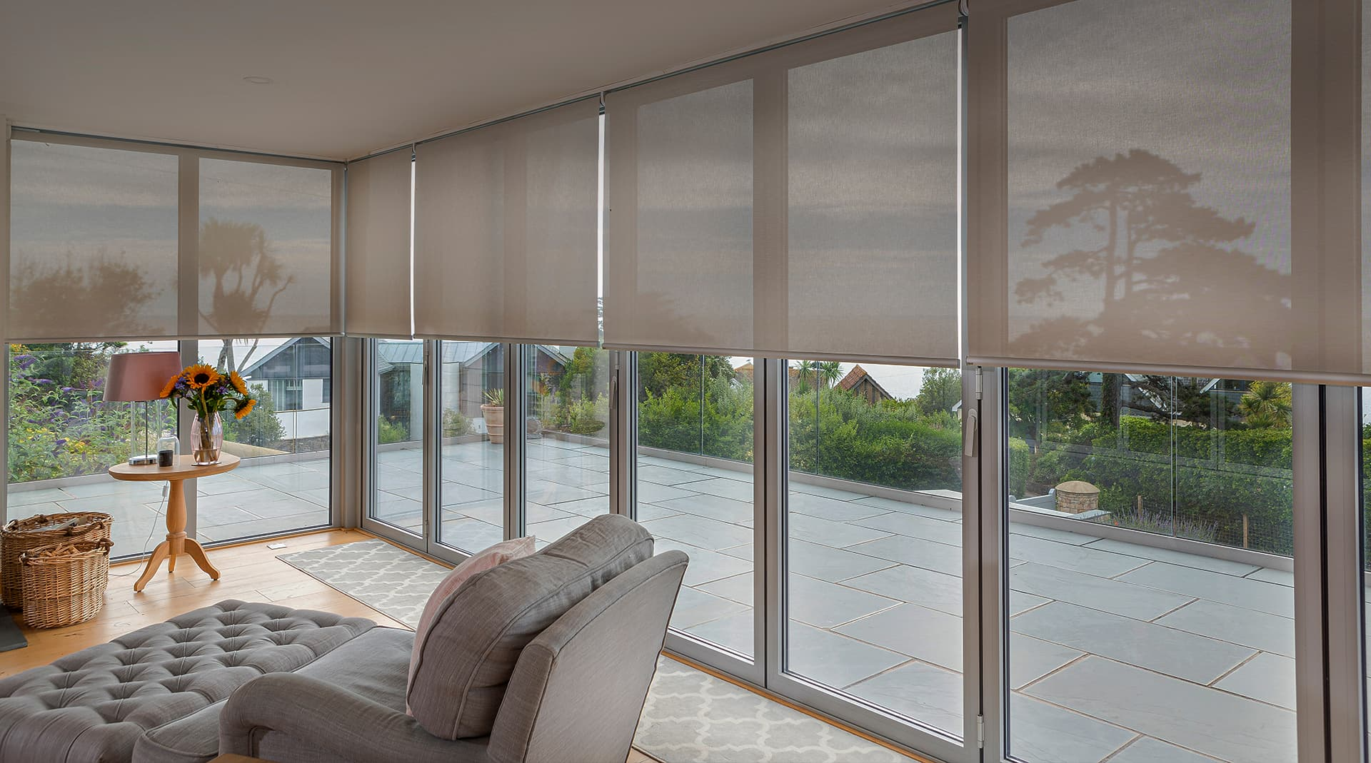 Hidden Wires- Tina Loveland - ULTRA Smart Roller Blinds on Bi-fold Doors